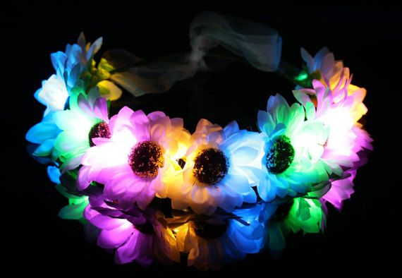Rainbow daisy LED flower crown/floral headband light up by LUMiLtd