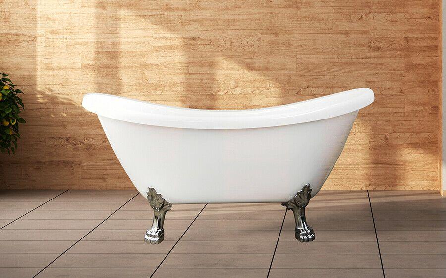 Details About Freestanding Clawfoot Bathtub White 59 Acrylic Soaking Tub Mariah Soaking Bathtubs Free Standing Bath Tub Clawfoot