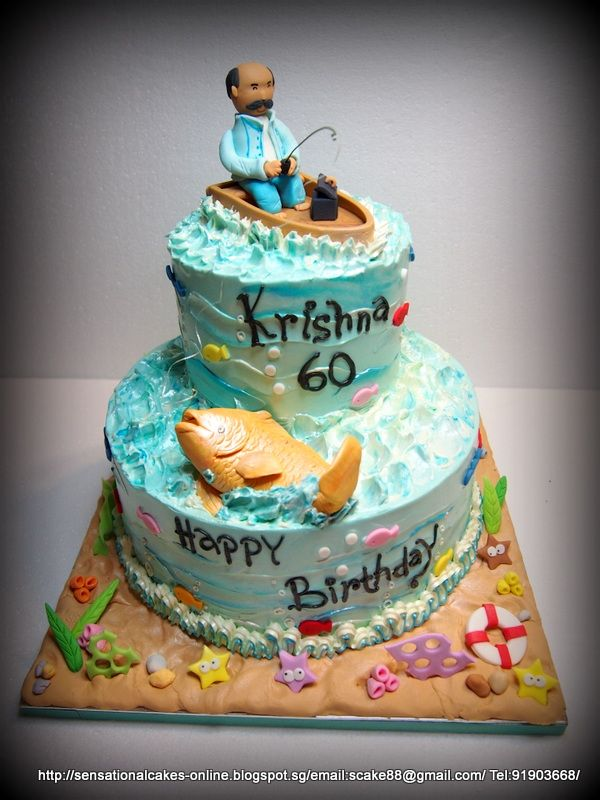 Fishing Birthday Cakes For Men Fishing Birthday Cakes For Men Happy Birthday Mr Krishnan Birthday Cake Singapore Fishing Theme Cake 60th Birthday Cakes