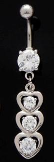 Triple Heart Strand Dangle Belly Button Navel Ring