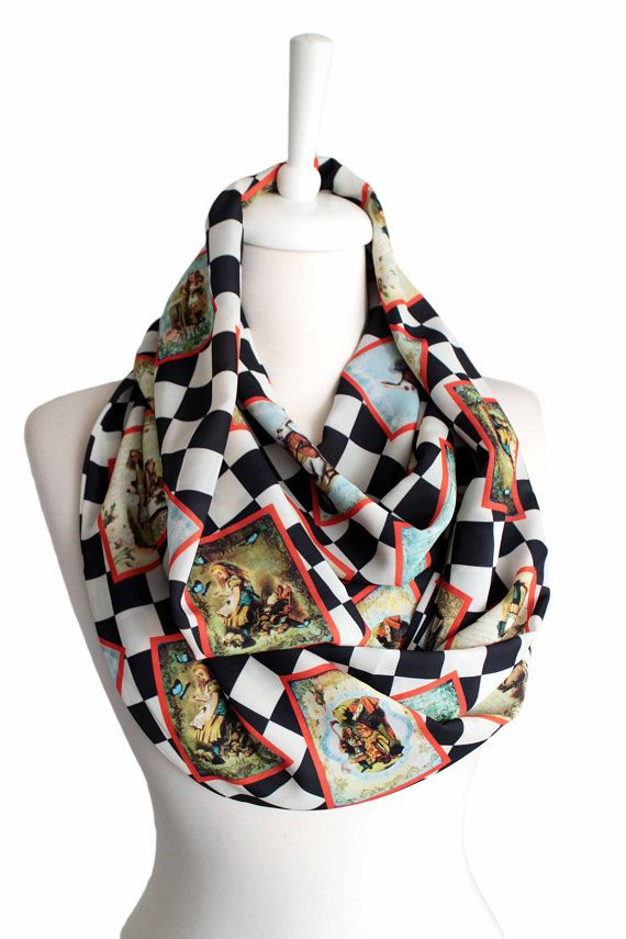 Alice In Wonderland Themed Infinity Scarf christmas gift geeky item geek gifts winter fashion accessories Checked by Aslidesign