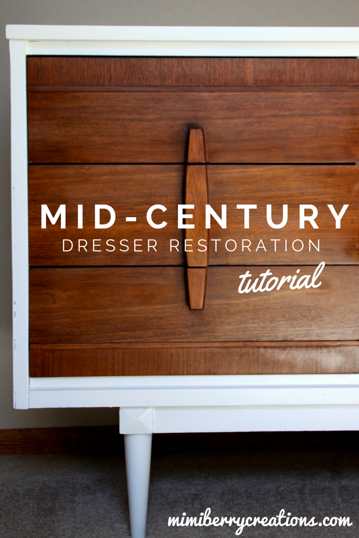 A before and after of a 1960s mid century modern dresser with a step by step diy tutorial