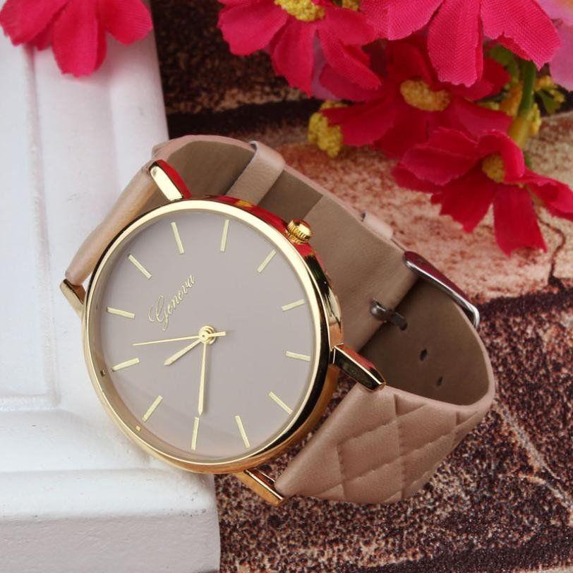 2016 Hot sales watch women Checkers Faux lady dress watch, women's Casual Leather quartz-watch Analog women's wrist watch gifts
