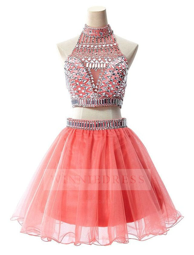 Sparkly A-line Illusion High Neck Beaded Bodice Watermelon Short Mini Tulle 2 Piece Homecoming Dress WNHD0709