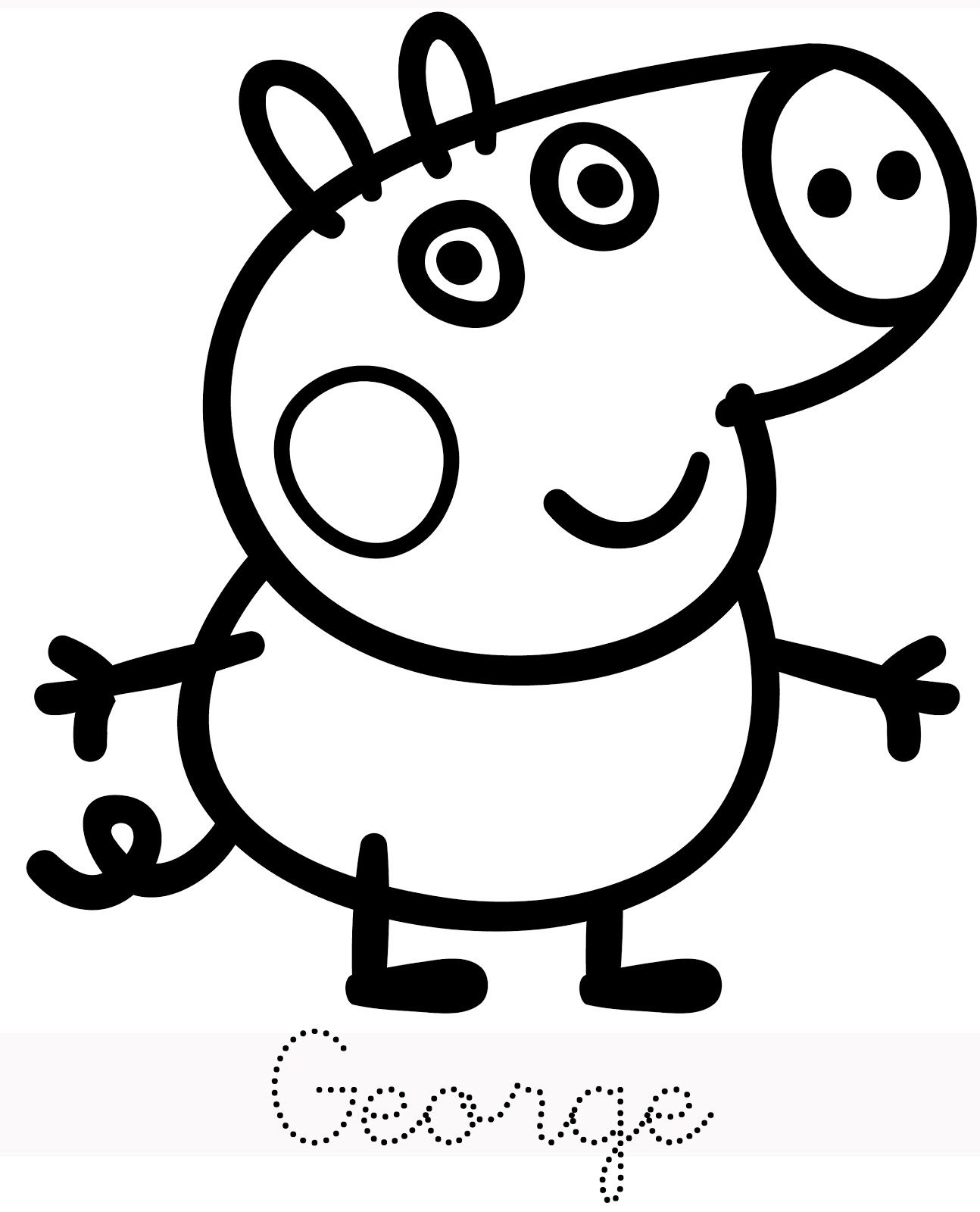 hello! peppa pig and her family is here. print, trace and colour ... - Peppa Pig Coloring Pages Print