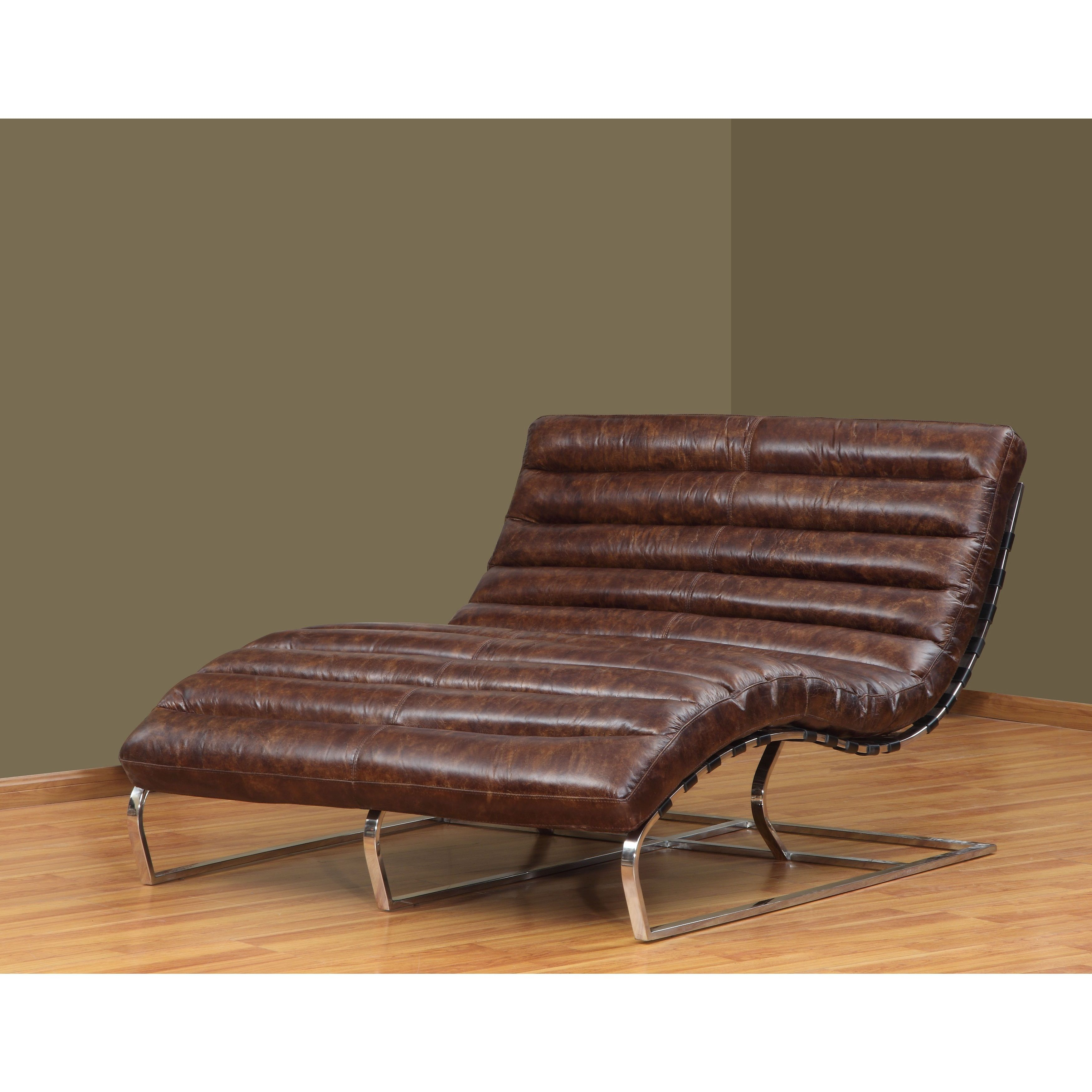 l double chaise chair leather cigar brown vintage chromed steel frame unique in home u0026 garden furniture sofas loveseats u0026 chaises
