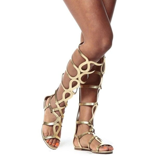 20bda06e28b Gold Egyptian Gladiator Sandals ❤ liked on Polyvore featuring shoes ...