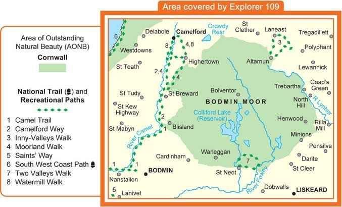 Bodmin Moor Map OS Explorer Map 109 (1:25 000) Bodmin Moor | Hiking Adventures