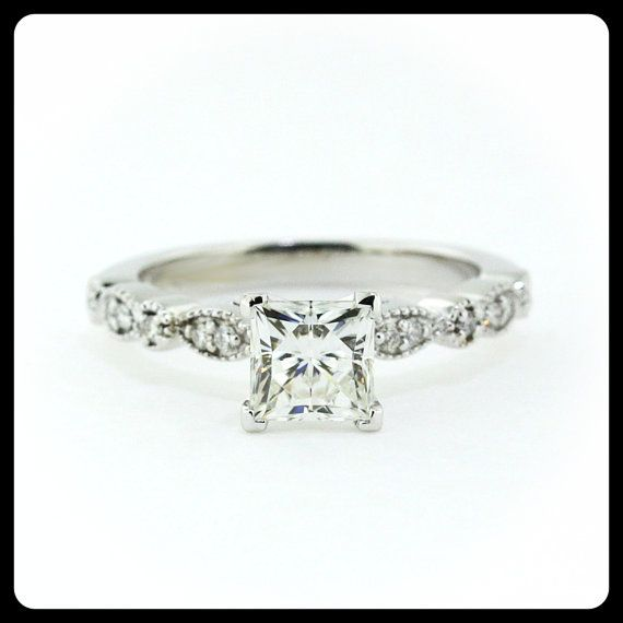 RESERVED Vintage Style Princess Cut Engagement Ring Diamond Side