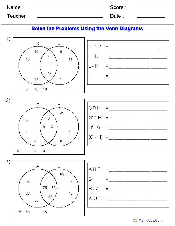 Venn Diagram Worksheets Set Notation Problems Using Two Sets – Venn Diagram Worksheet