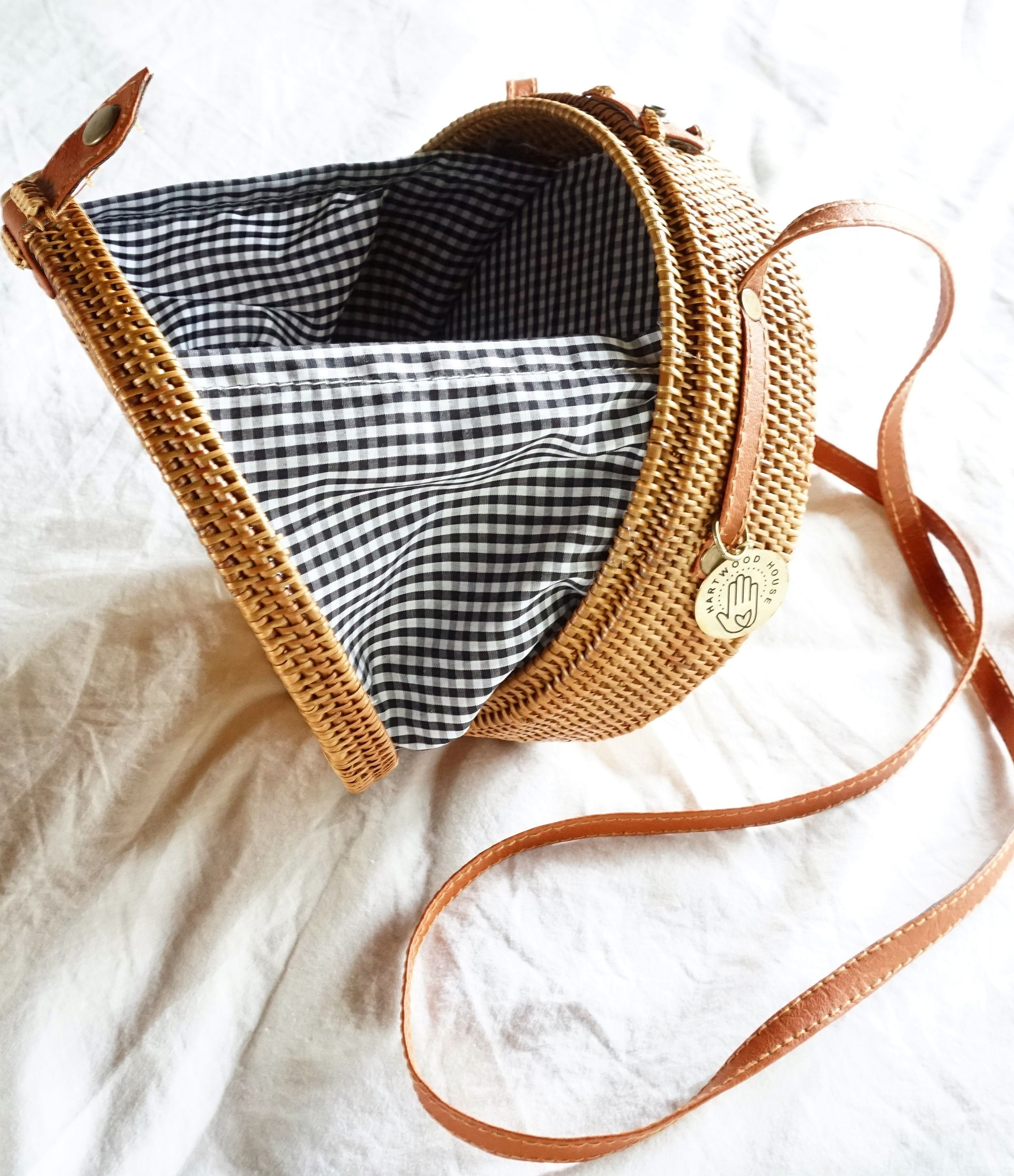 872c6a3d1a7e This gingham straw circle bag ticks three of this summer s biggest trends
