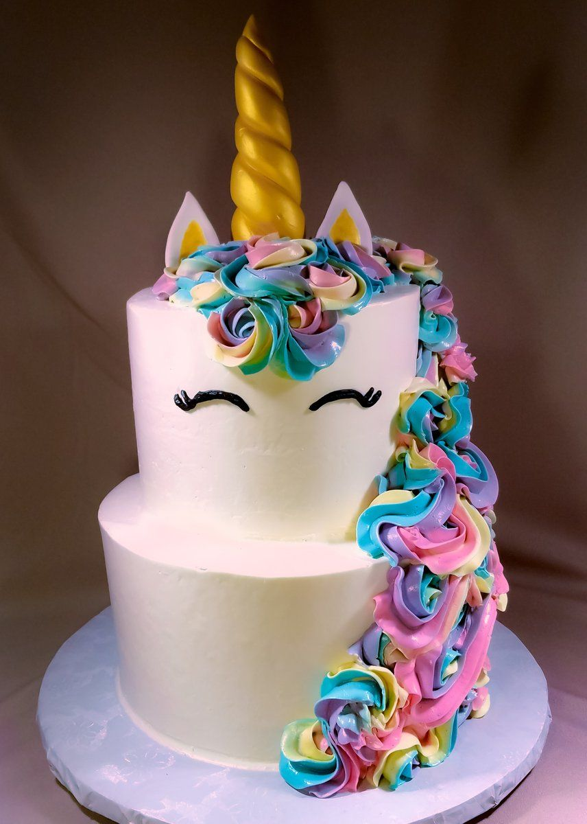Unicorn Cake 2 Tier Vanilla With Images Unicorn Cake