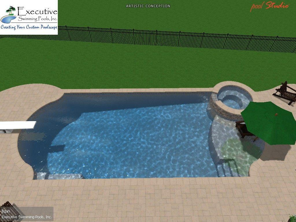 custom pool design roman with round spa sunledge diving board