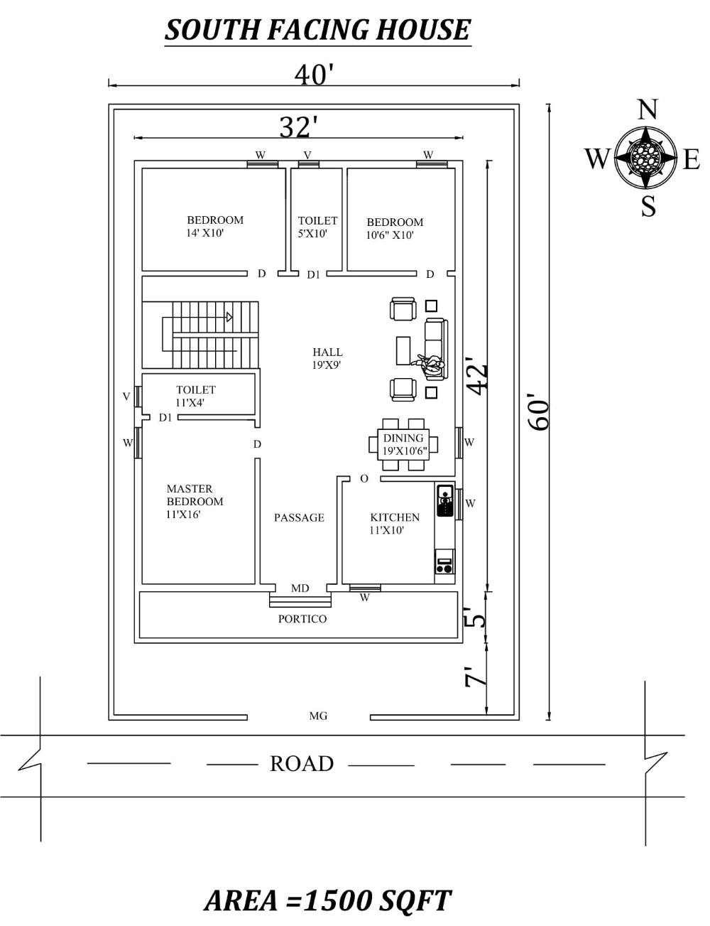 40 X60 3bhk South Facing House Plan As Per Vastu Shastra Autocad Dwg And Pdf File Details South Facing House Indian House Plans Modern House Floor Plans