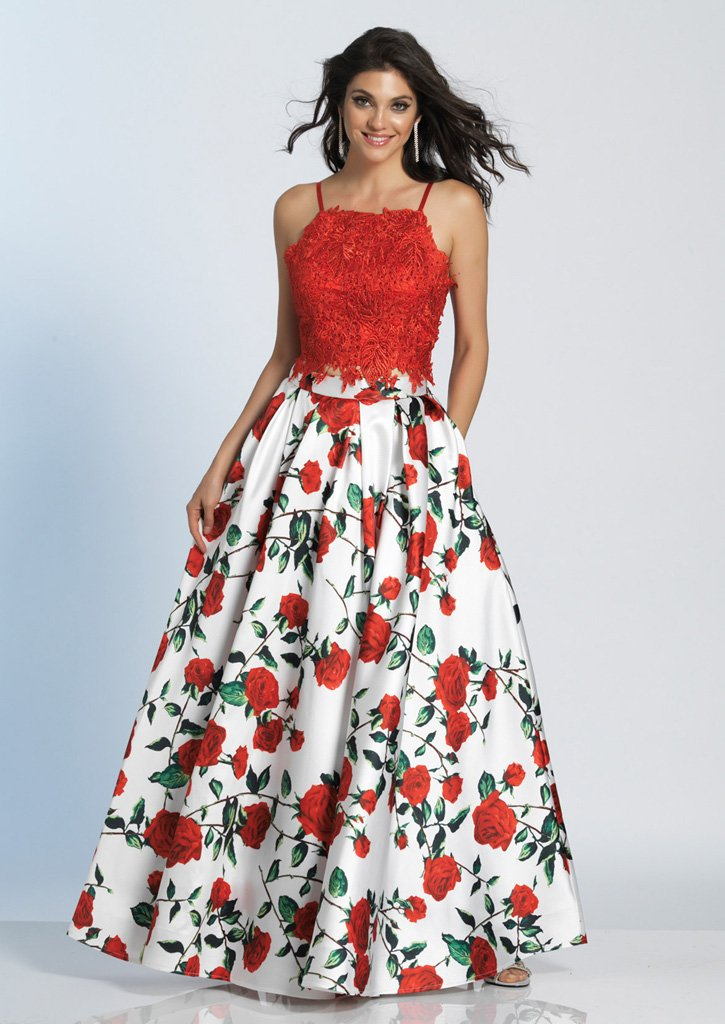 DJ A 5265 - Rose-Print Two-Piece Long Prom Dress with Lace Top ...