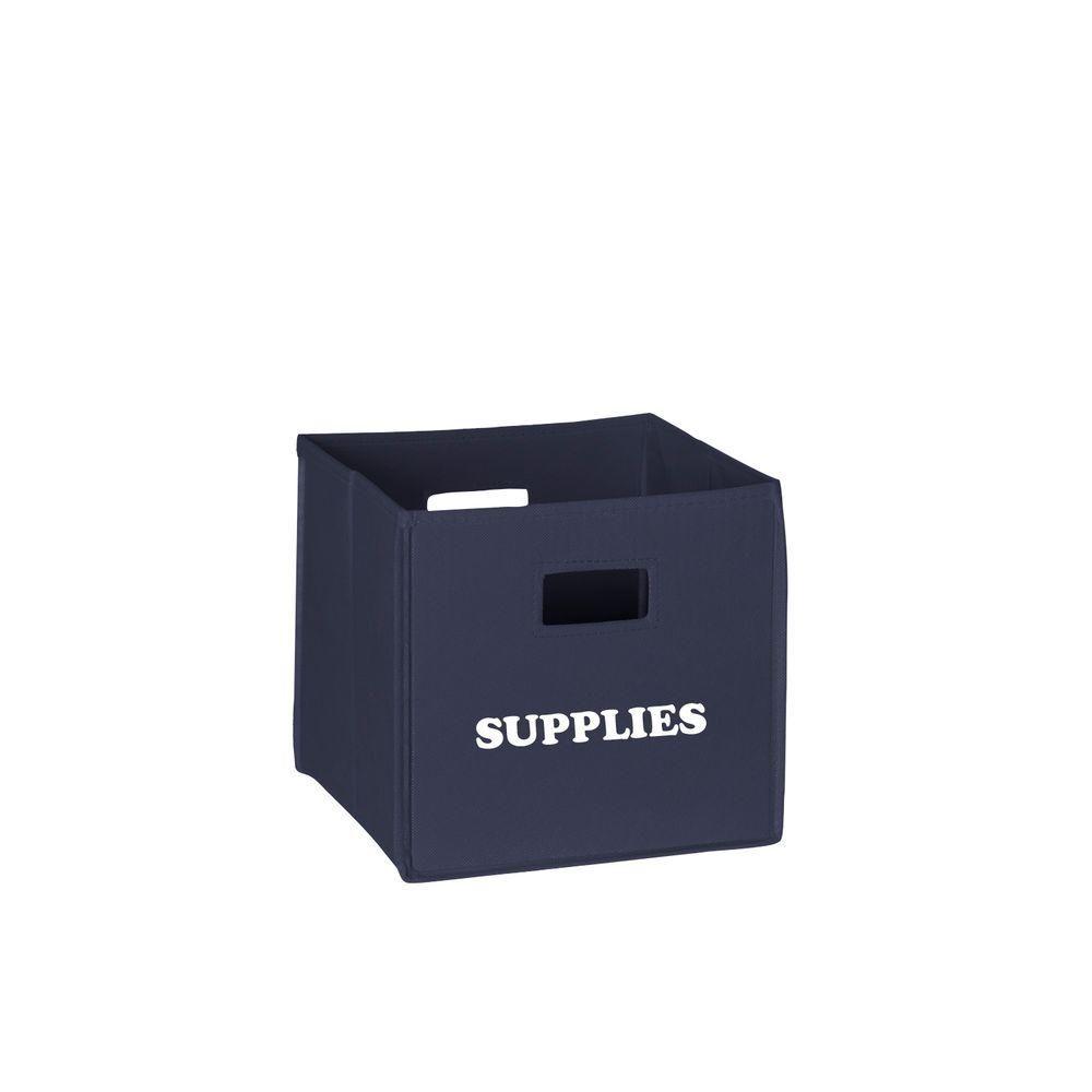 10.5 in. x 10 in. Folding Supplies Storage Bin in Navy Blue