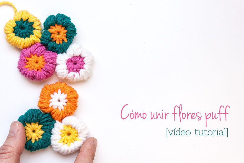 C mo unir flores puff de ganchillo para hacer una manta o - Como hacer flores de ganchillo ...