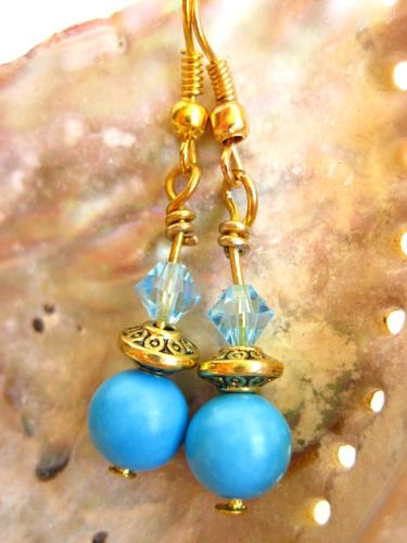 These lovely magnesite and gold earrings will be going up for auction soon!