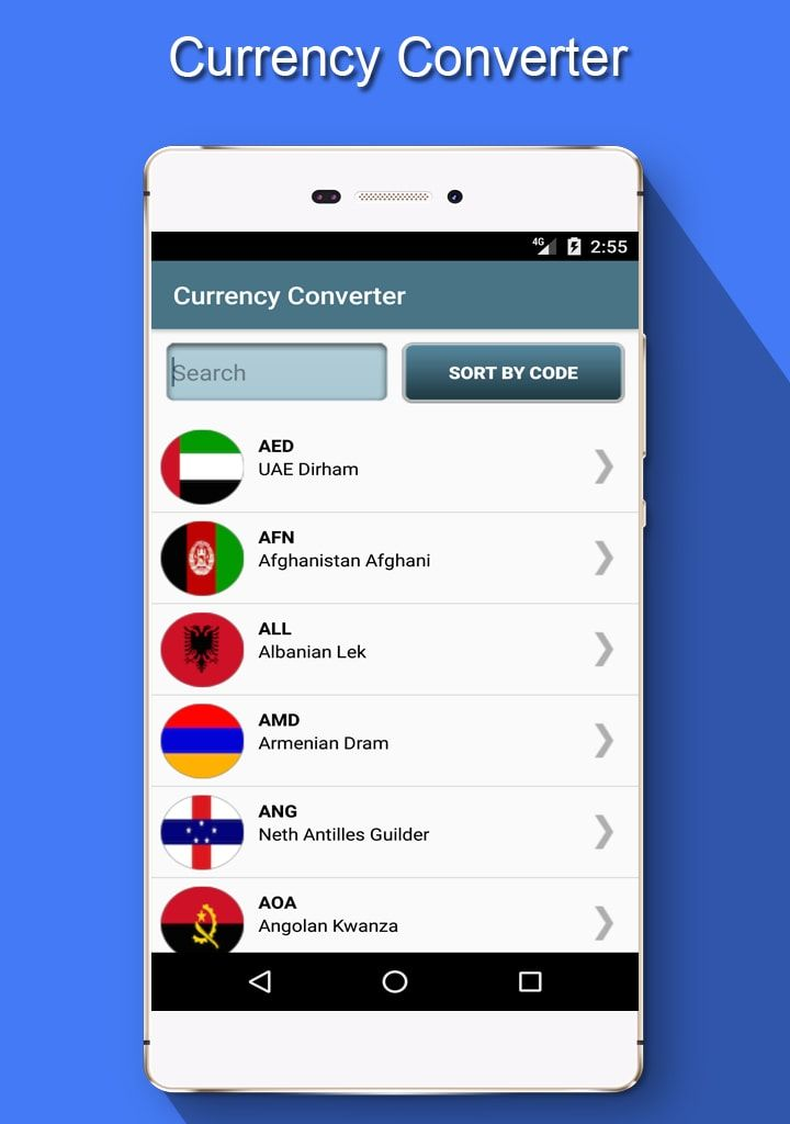 Currency converter contains 160 currencies with live