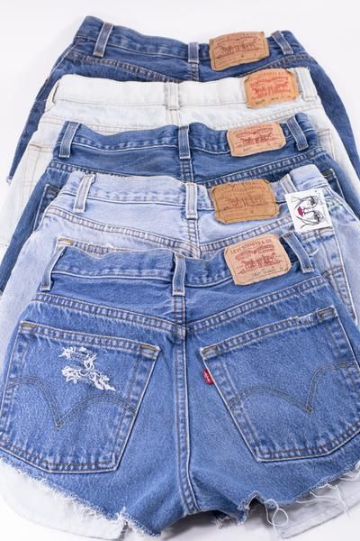 53dc6b0e LEVI Denim Cutoff Shorts Tattered Blue 1970s Distressed Highwaist High Cut  Jean Shorts