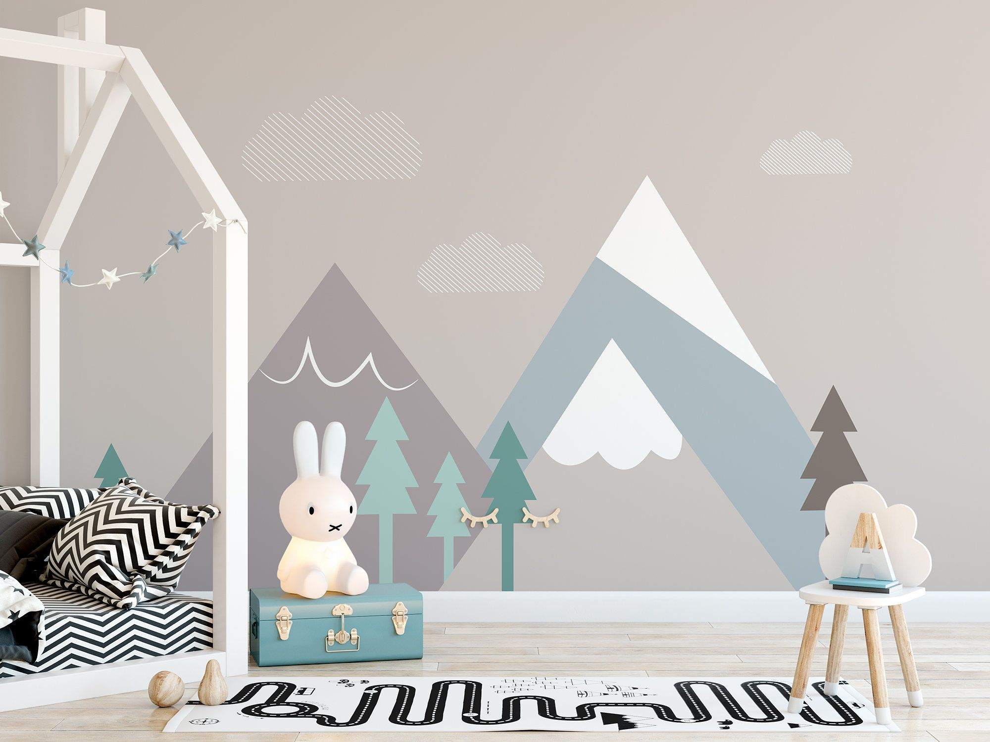 Mountain Snowy And Clouds Scandinavian Wallpaper Self Adhesive Etsy In 2020 Kids Room Paint Kids Room Murals Kids Room Wall Decor