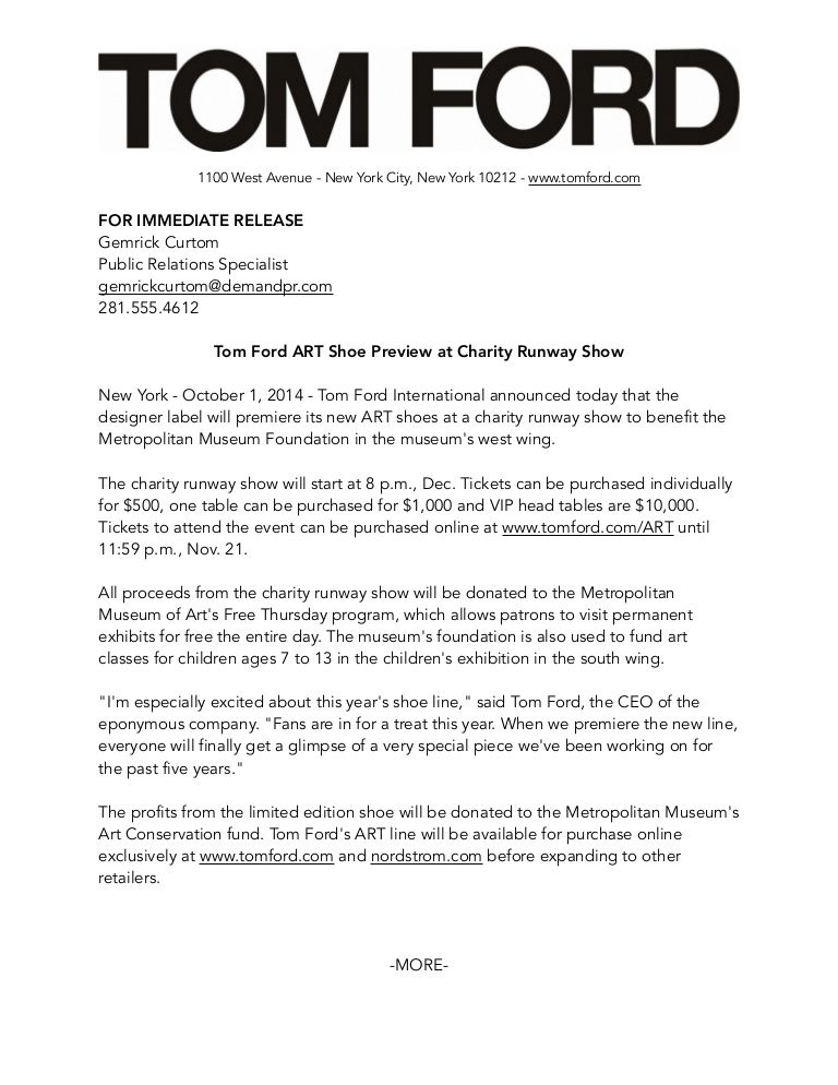 1100 West Avenue New York City New York 10212 Www Tomford Com