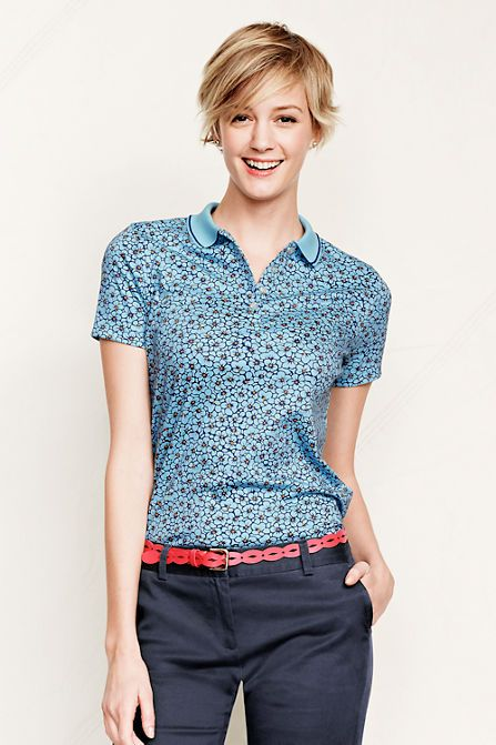 3695c508 Women's Short Sleeve Print Pima Polo Shirt from Lands' End | My ...