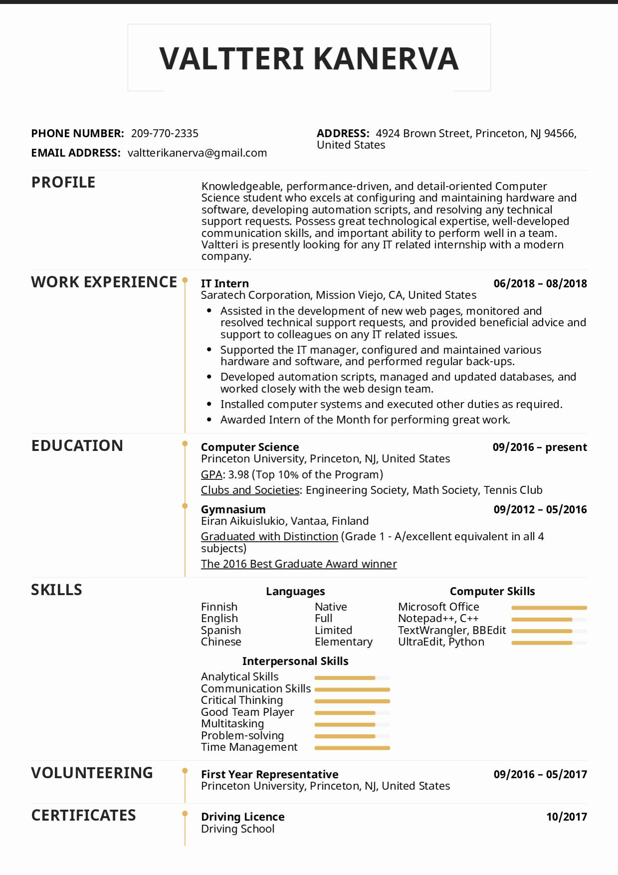 Computer Science Internship Resume Beautiful Resume Examples By Real People It Intern Resume Template Resume Examples Internship Resume Science Internships