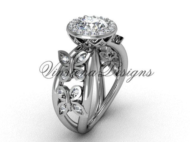 14kt white gold butterfly engagement ring VF301013 Gold bands