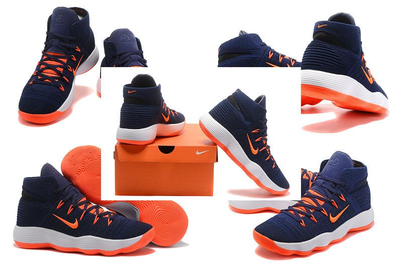 9604726ed583 NIKE REACT HYPERDUNK 2017 FLYKNIT Dark Blue Total Orange