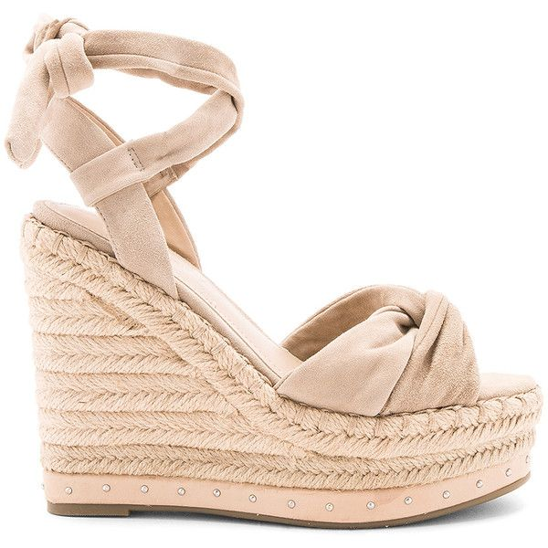 KENDALL + KYLIE Grayce Wedge (€135) ❤ liked on Polyvore featuring shoes, sandals, heels, wedges, rubber sole sandals, platform wedge sandals, studded platform sandals, platform heel sandals and studded platform shoes