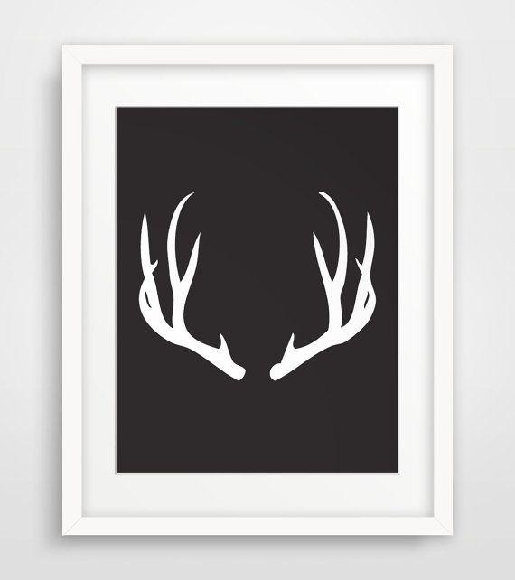 Antler Print Antlers Print Black Deer Antlers Black And White