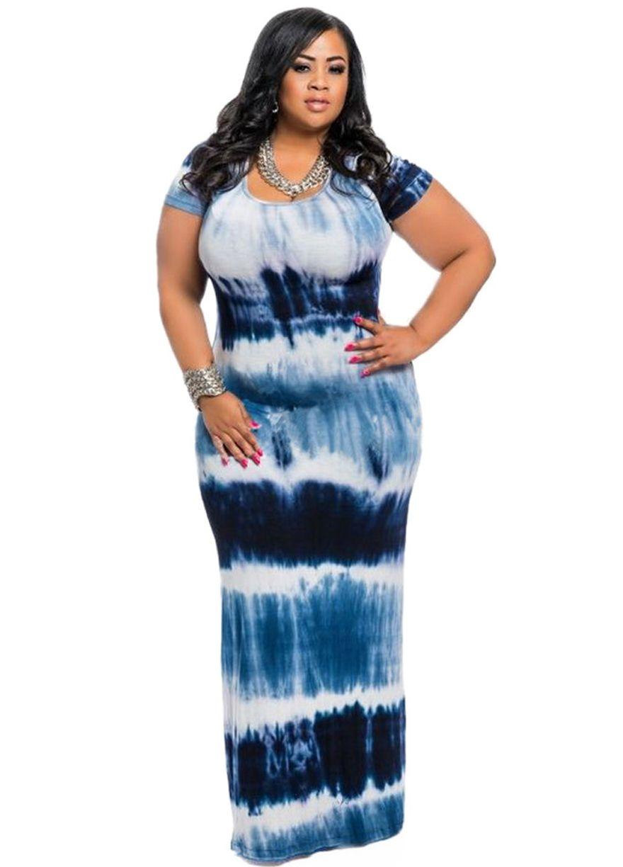 fbb902de9d Multi-Color Tie Dye Short Sleeve Plus Size Maxi Dress | plus size ...