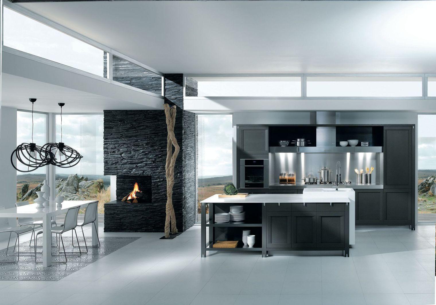 Cuisine ouverte : 16 modèles de cuisiniste | Inox brossé, Ilot ...