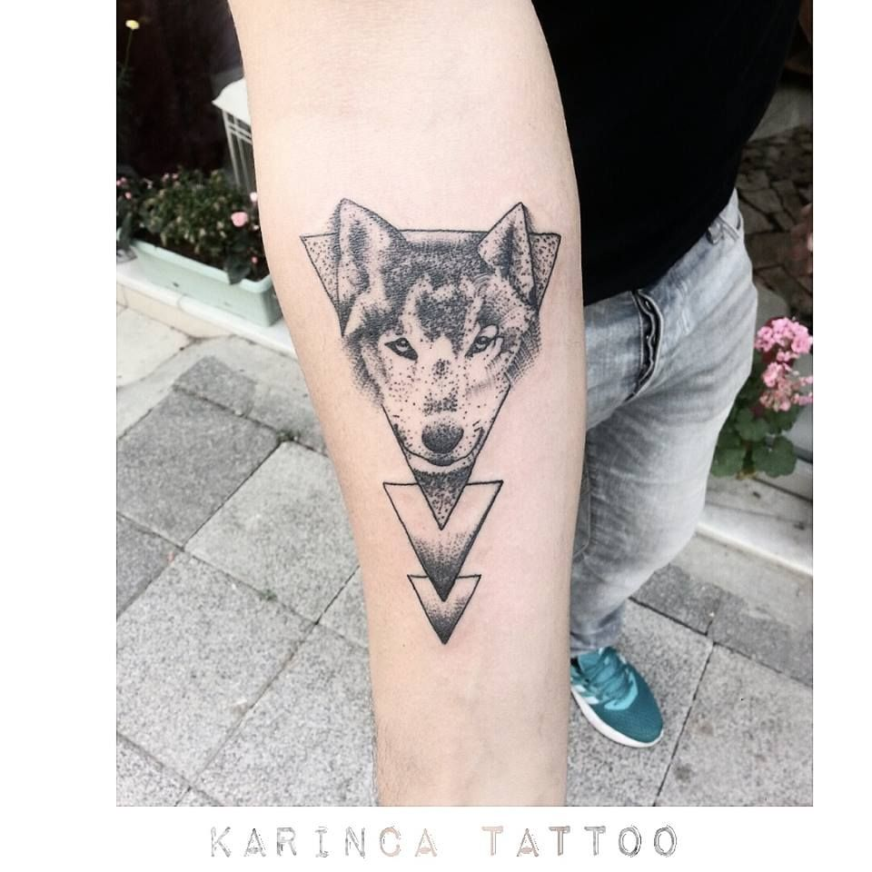Geometric Wolf Tattoo on the arm https://www.instagram.com ...