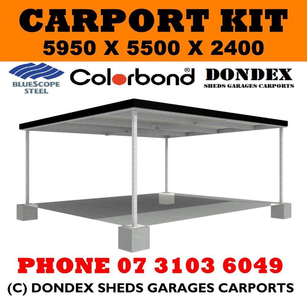 DONDEX SHEDS Double Carport Kit 5.5x5.95x2.4 Skillion Roof