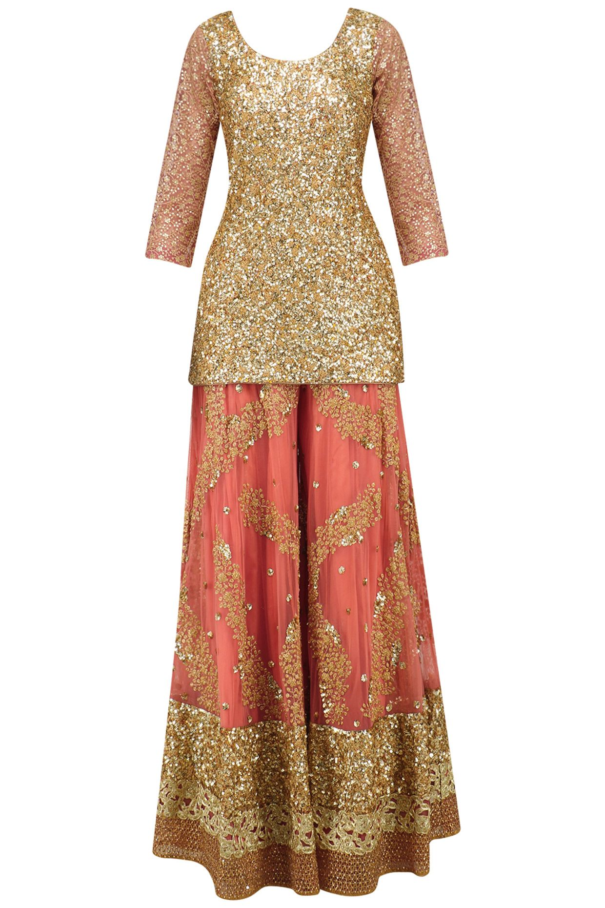 23305e2b50 Salmon pink embroidered sharara set available only at Pernia's Pop Up Shop.