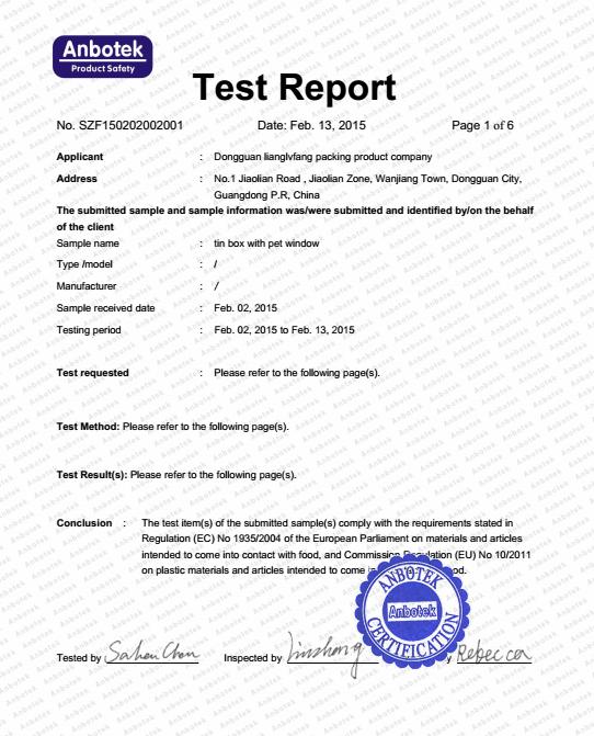 EN71-3 food grade test report | Food Grade Report Of Tin Box | Pinterest