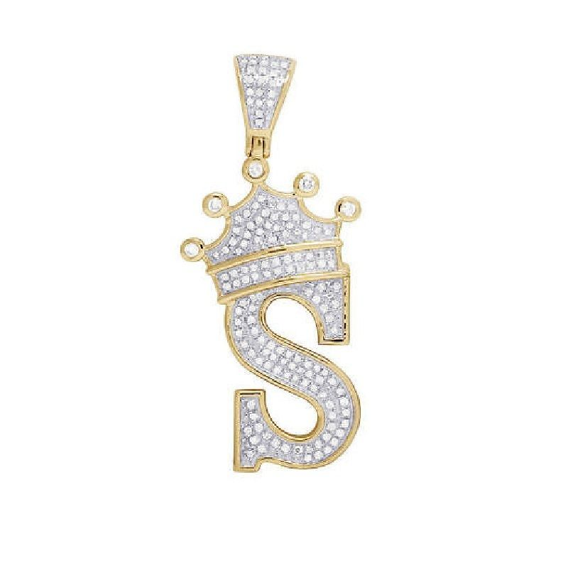 S Initial Letter Pendant D Vvs1 Diamond 18k Yellow Gold Plated Pure 925 Silver Letter Pendants Pure Gold Jewellery Initial Pendant Necklace