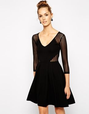 799efc1987ab French Connection Liv Skater Dress with Mesh Insert | Style ...