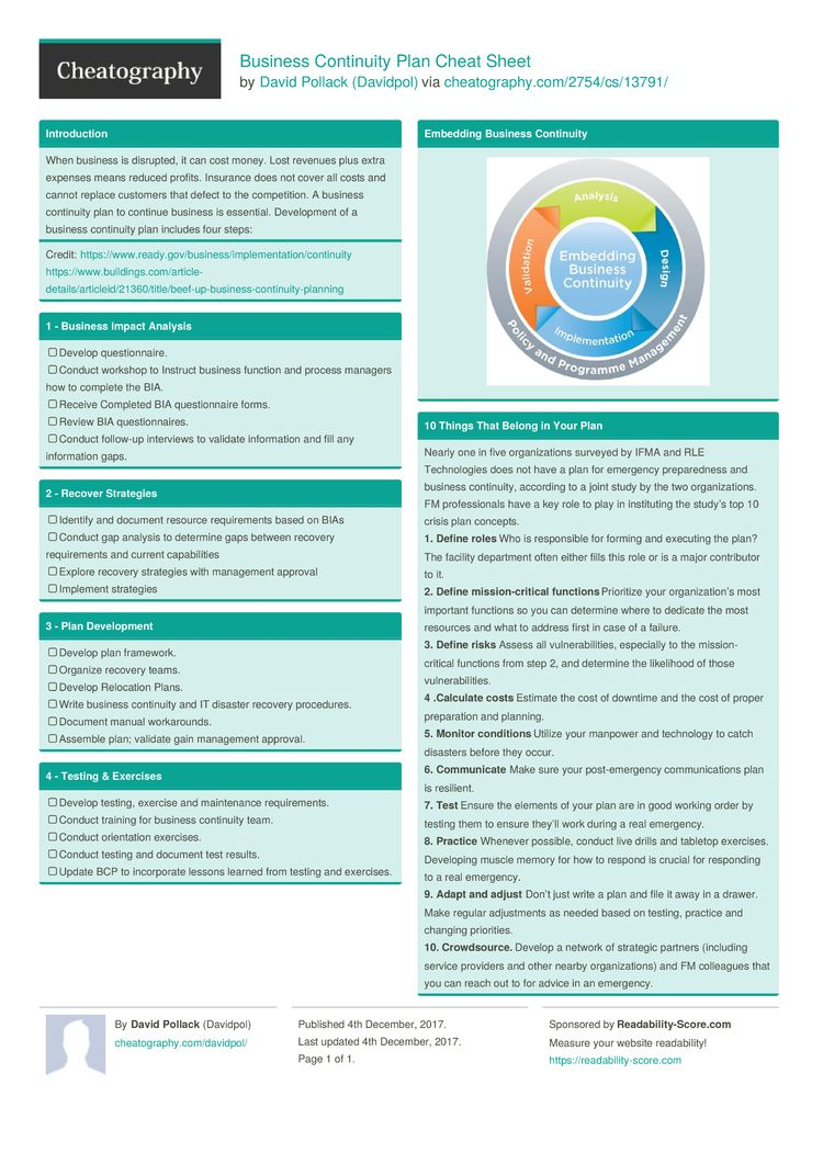 Business Continuity Plan Cheat Sheet By Davidpol HttpWww