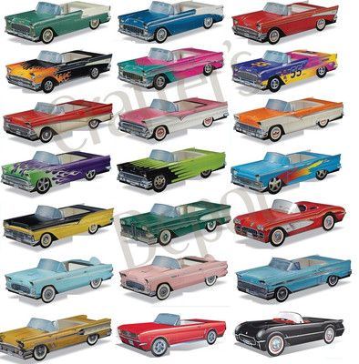 10 Pack Cardboard Classic Cars Boxes 1950s Party Retro 50s