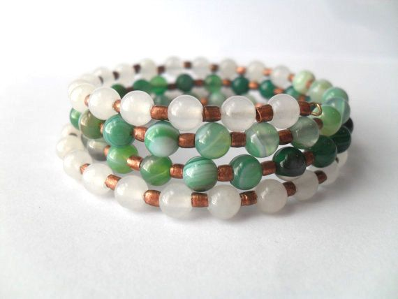 Boho Chic Gem Bangle Bracelet White Jade and Green by IyanaDesigns