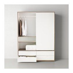 trysil wardrobe w sliding doors 4 drawers white light grey ikea sgd 340 without delivery. Black Bedroom Furniture Sets. Home Design Ideas