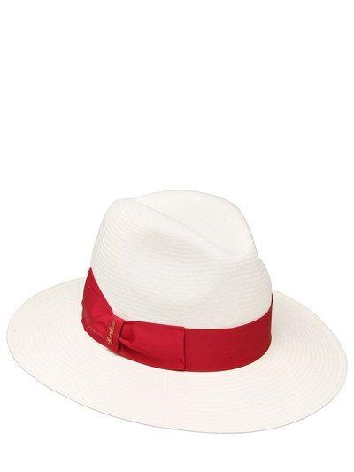 d3b131b204148 BORSALINO FINE PAMANA STRAW HAT, WHITE/RED. #borsalino #hats ...