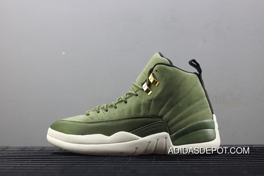 finest selection 86642 99acc Air Jordan 12 AJ12 CP3 Paul Olive Green Gold Buckle Suede ...