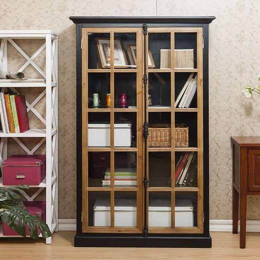Black Wooden Bookcases With Glass Door