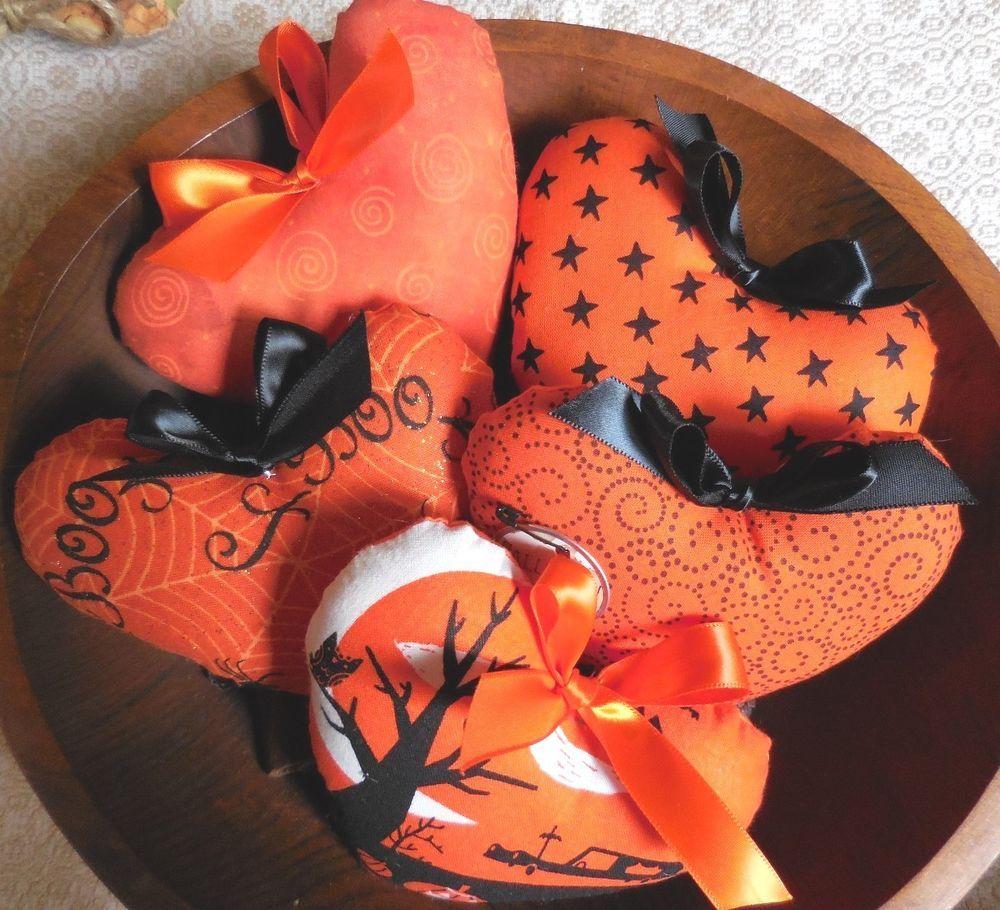 Primitive Halloween HEART Bowl Fillers Heart Pillow Tucks HALLOWEEN Orange #NaivePrimitive #artist