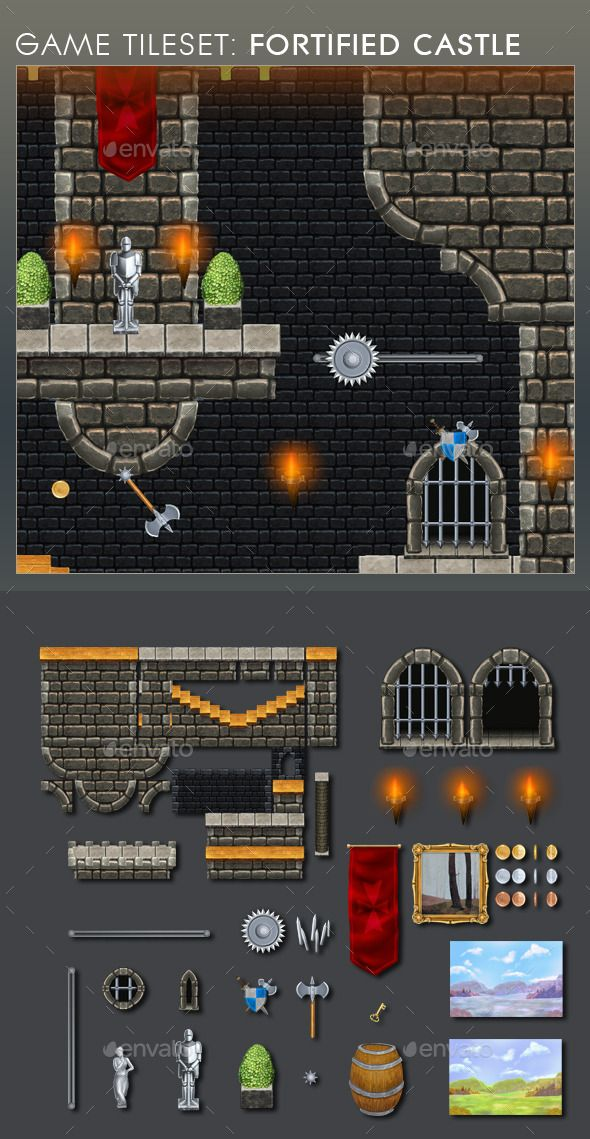 Platform Game Tileset 12: Fortified Castle — Photoshop PSD #decoration #mobile • Available here → https://graphicriver.net/item/platform-game-tileset-12-fortified-castle/9108948?ref=pxcr