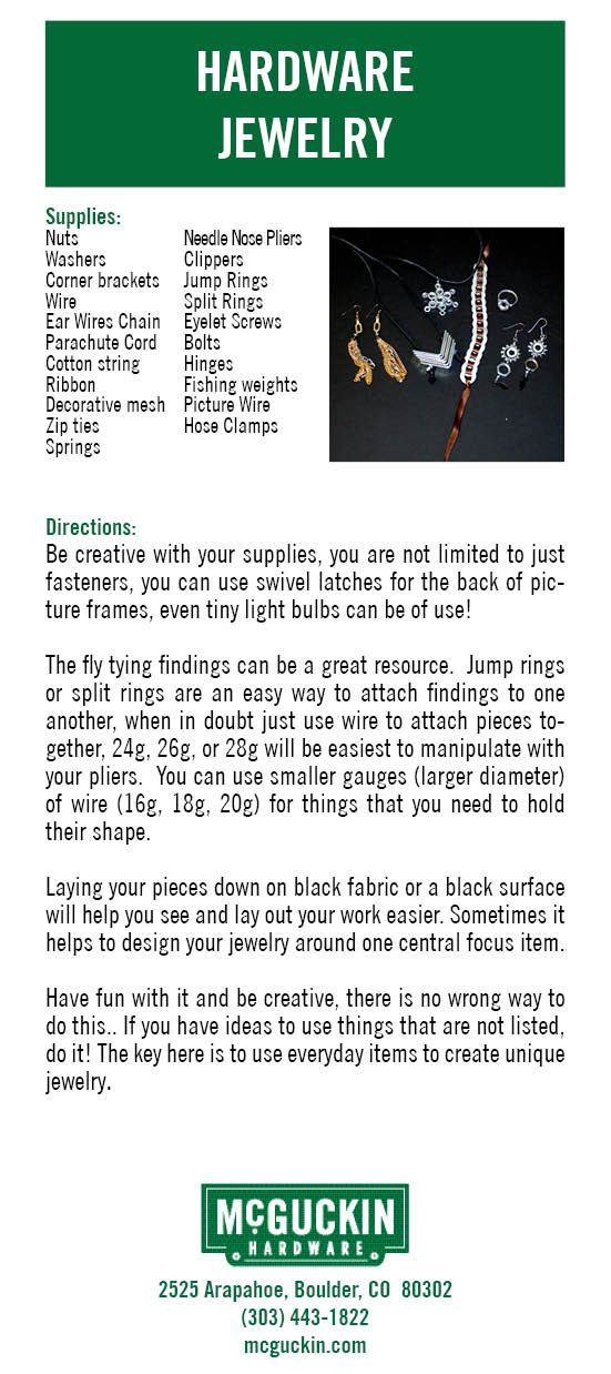 Make your own Hardware Jewelry using simple items found in a hardware store! www.mcguckin.com